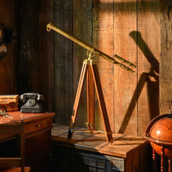 Mock Antique Wood and Brass Telescope