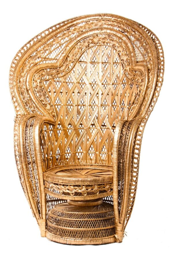 High Back Cane Chair - Gold