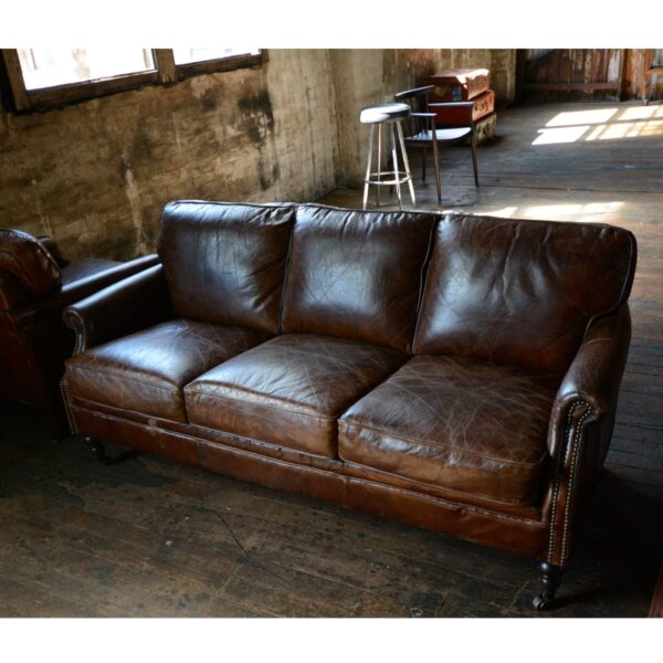 3 Seater Leather Winchester Lounge-10977