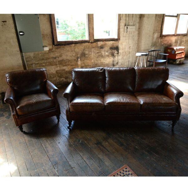 3 Seater Leather Winchester Lounge-10978