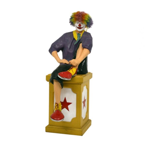 Life Size Clown Sitting on Circus Plinth