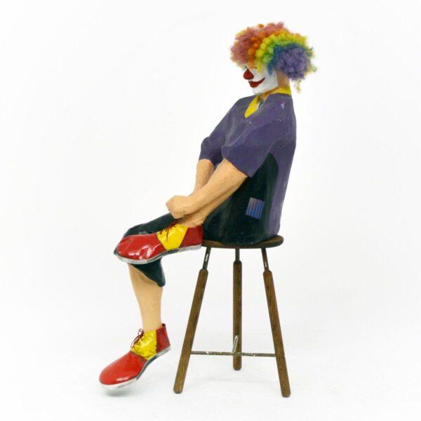 Life Size Clown Sitting on Stool