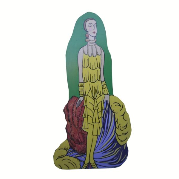 Cutout - Flapper in Yellow Dress on Green
