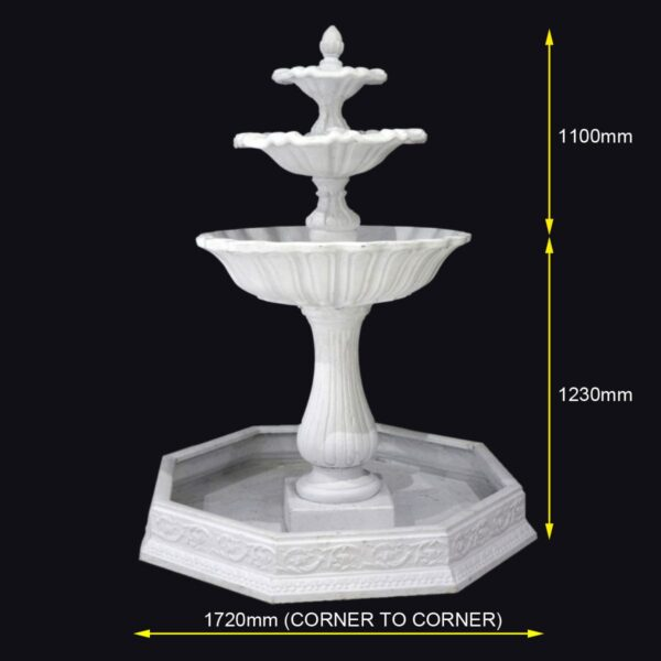 Three Tiered Fountain - Measurements