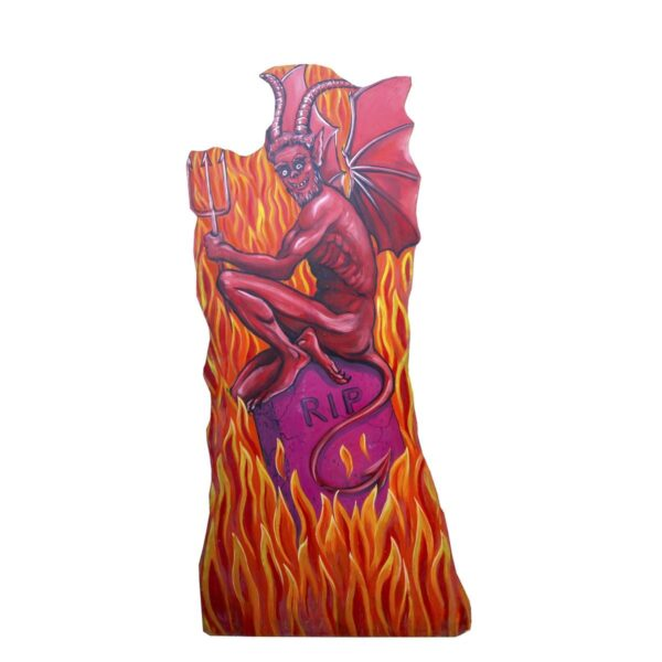 Cutout - Horror Flaming Winged Devil on Tombstone