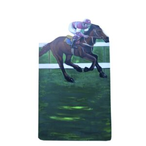 Cutout - Horse Racing with Pink and White Jockey