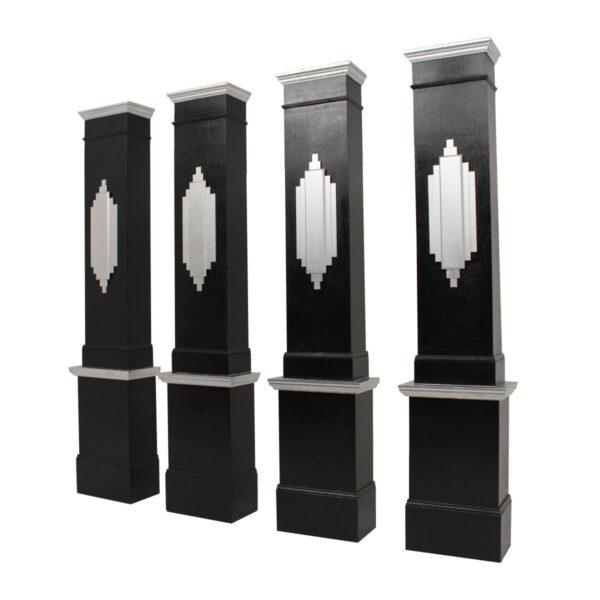 Art Deco Column Façades - Silver and Black