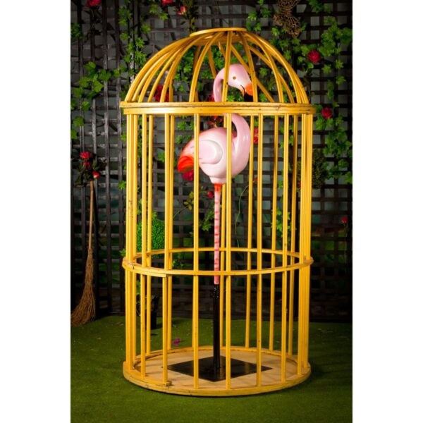 Flamingo on pole in GoGo cage