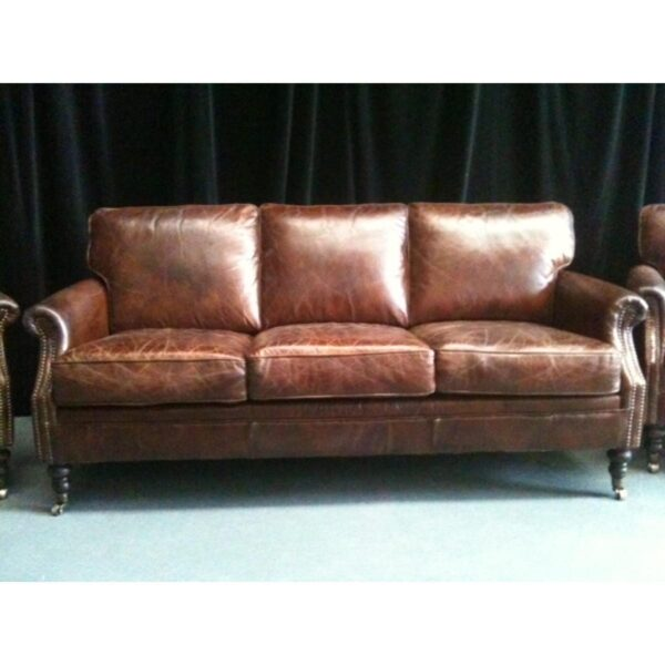 3 Seater Leather Winchester Lounge-0
