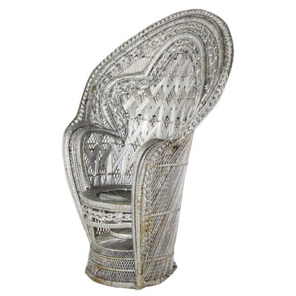 High Back Cane Chair - Silver