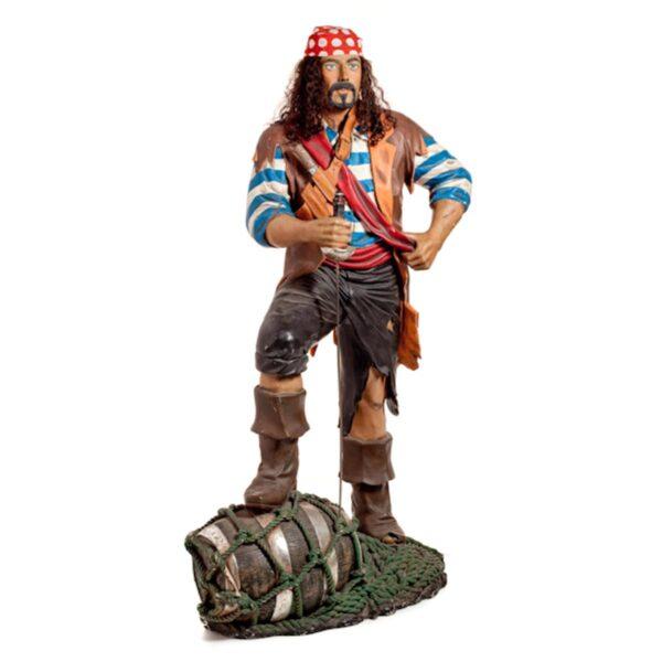 Life Size Pirate Statue on Barrel Statue