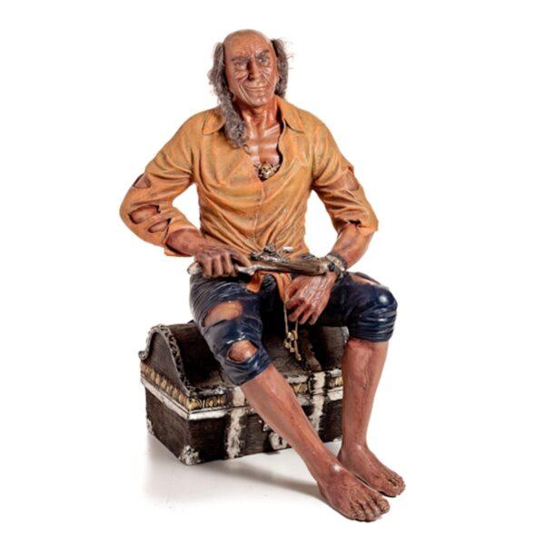 Pirate on Treasure Chest Statue-0