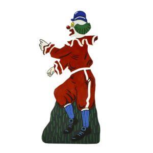 Cutout - Red Clown in Blue Striped Socks