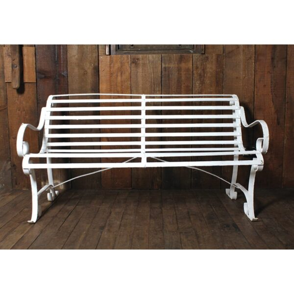 White Metal Park Bench with slats-18660