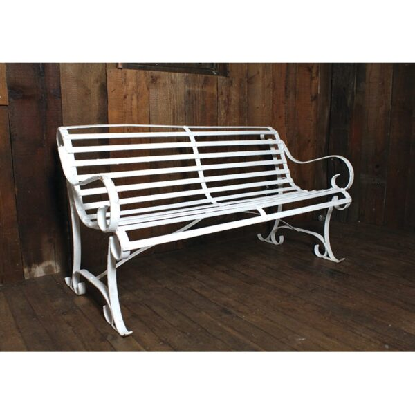 White Metal Park Bench with slats-0