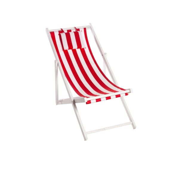Deck chair - White with Red Stripes