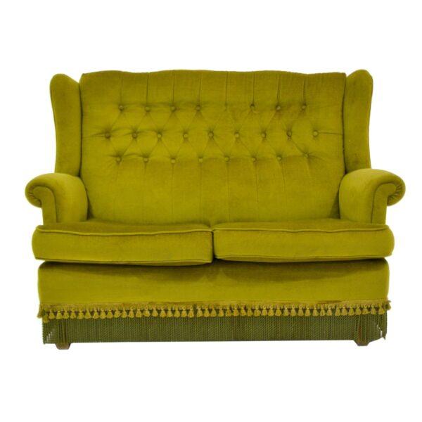 Retro Green Velour 2 Seater Lounge-0