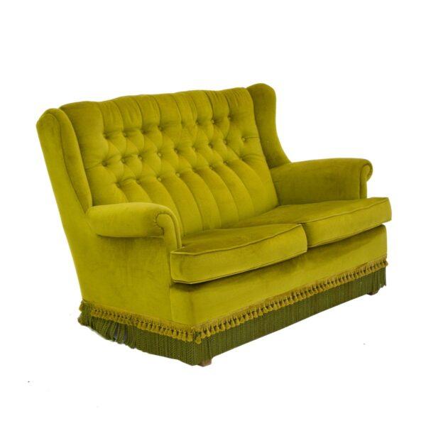 Retro Green Velour 2 Seater Lounge-11158