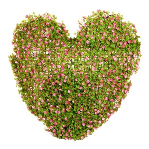 Heart shaped hedge with pink flowers