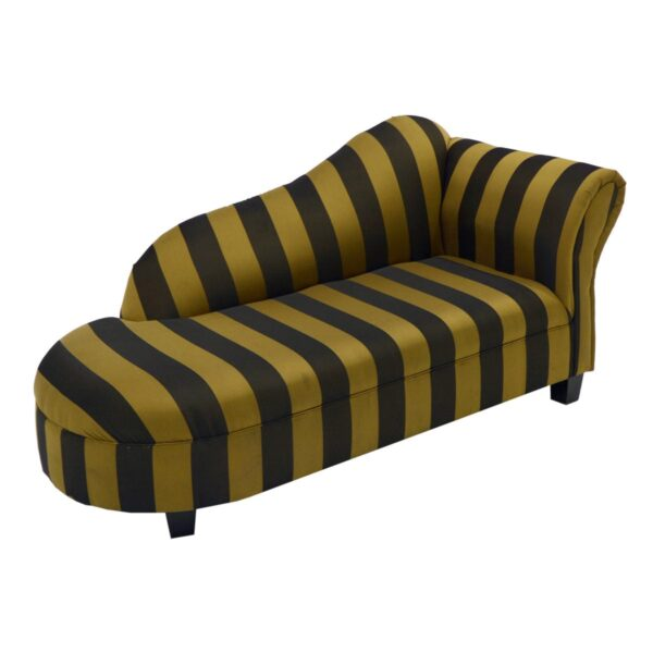 Black and Gold Striped Chaise Lounge-0