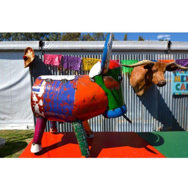 Colourful Mexican Bull Sculpture