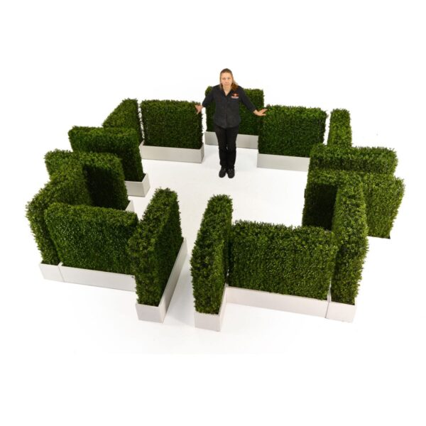 Large Hedge Walls in Planter Boxes arranged as a maze