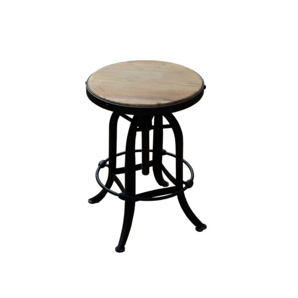 Rustic Timber and Black Steel Stool-18443