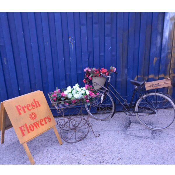 Wrought Iron Flower Cart-11532