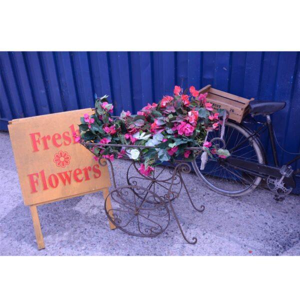 Wrought Iron Flower Cart-11533