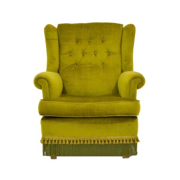 Retro Green Velour Armchair-11154