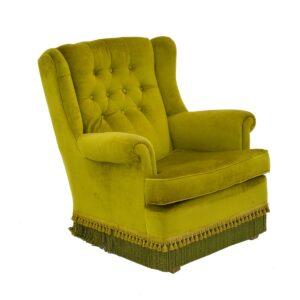 Retro Green Velour Armchair-0