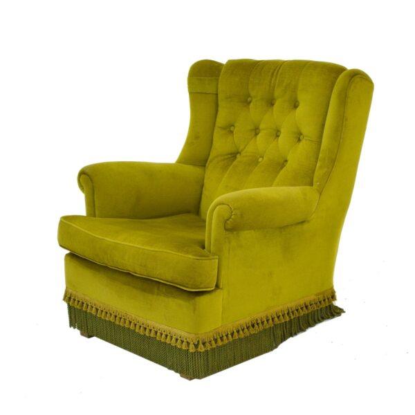 Retro Green Velour Armchair-11155