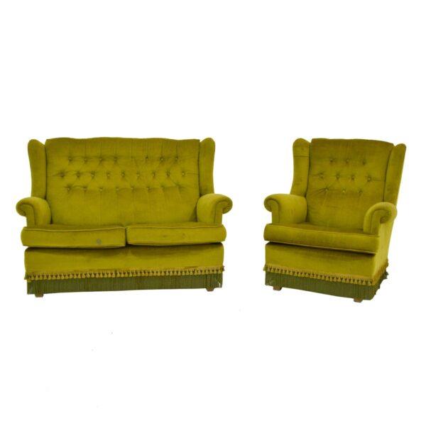 Retro Green Velour 2 Seater Lounge-11157