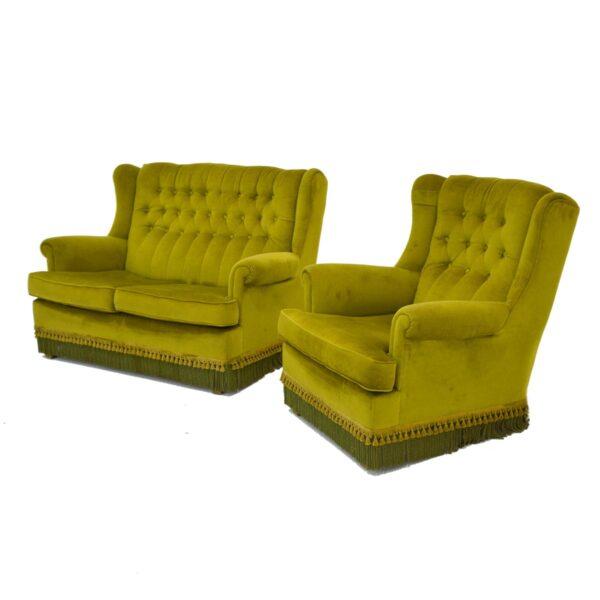Retro Green Velour 2 Seater Lounge-11159