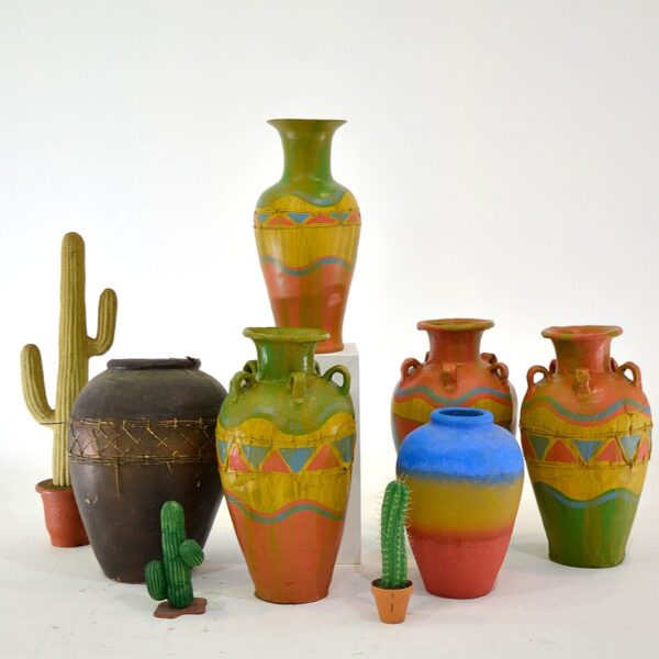 Large Colourful Mexican Style Urn
