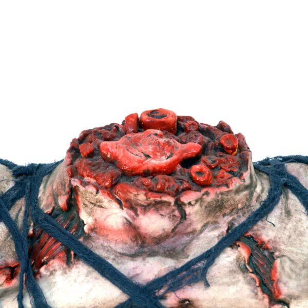 Horror severed neck with arms
