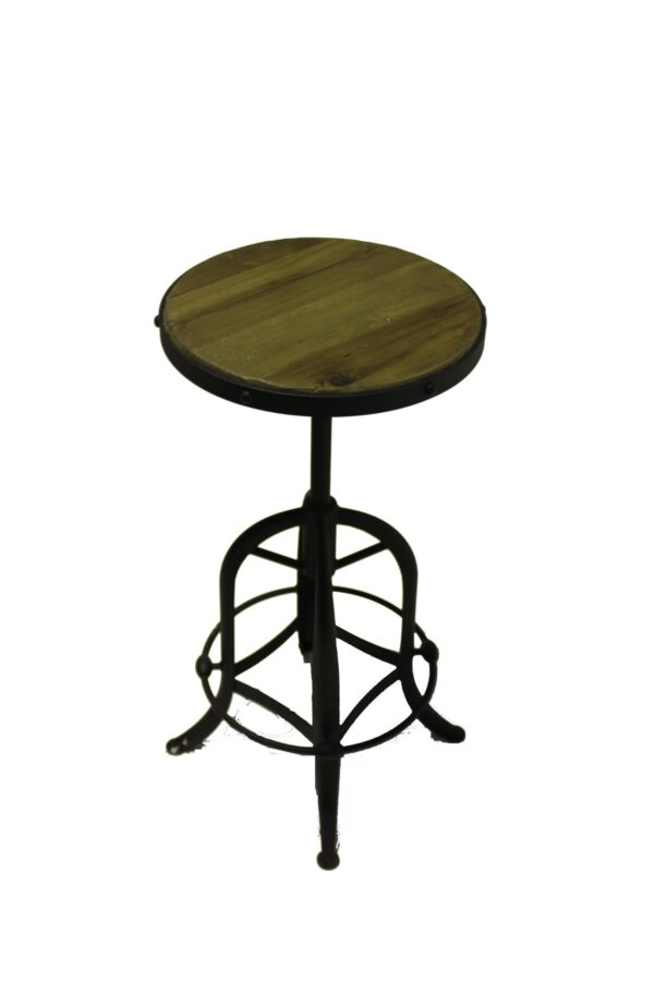 Timber and Black Steel Stool