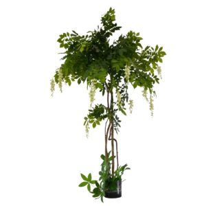 Artificial Potted White Flowering Wisteria