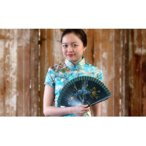 Small Chinese Fan with Blue Floral Design