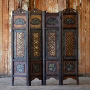 Decorative Wooden Chinese 4-Fold Screen