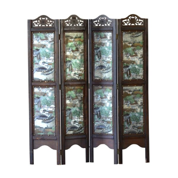 Chinese Screen with Hand-Painted Panels