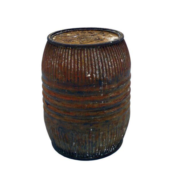 Vintage Iron Barrel with Lid-18417