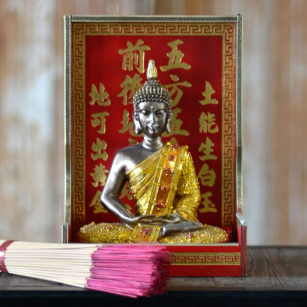 Chinese Ornamental Buddha - Type 1 with incense sticks