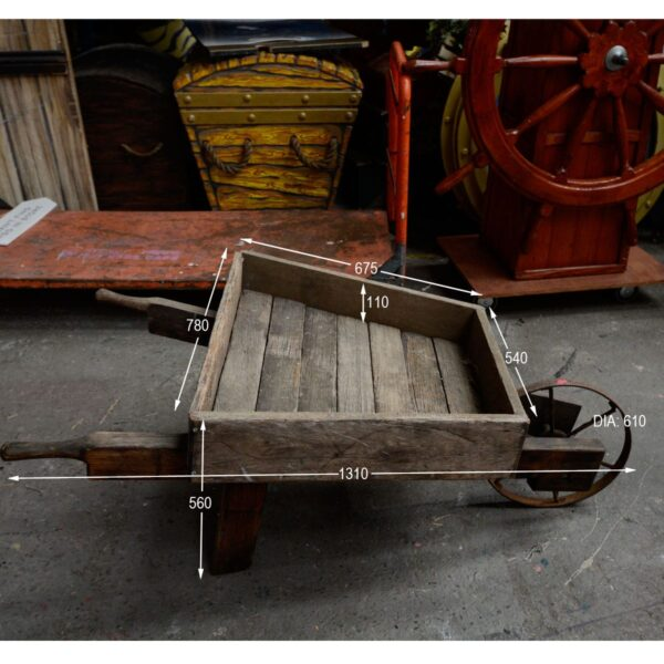 Rustic Wooden Wheelbarrow - Type B with Measurements