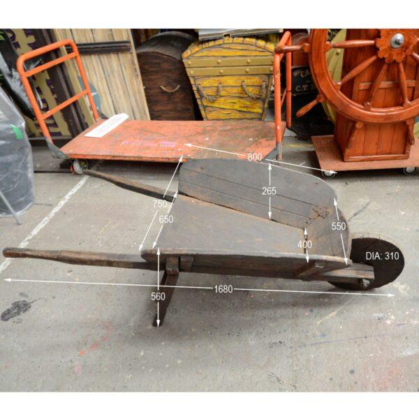 Rustic Wooden Wheelbarrow - Type C with Measurement