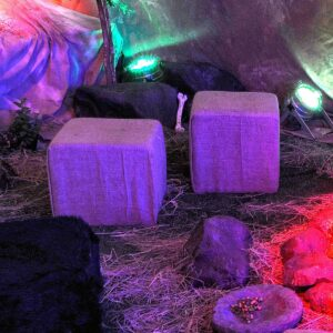 Hessian-Covered Cube Seating