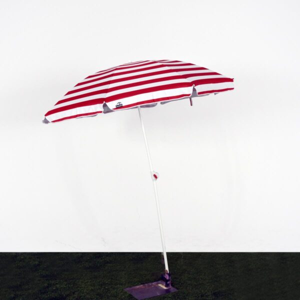 Beach Umbrella, White and Red Striped