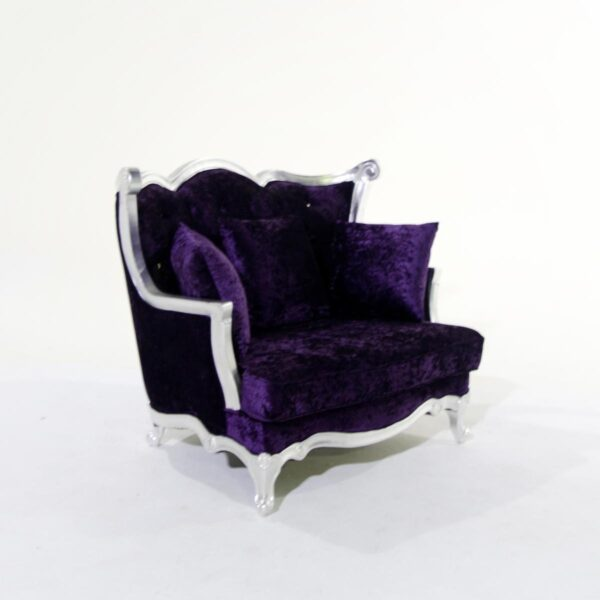 Two Seat Plush Purple Studded Velvet Couch