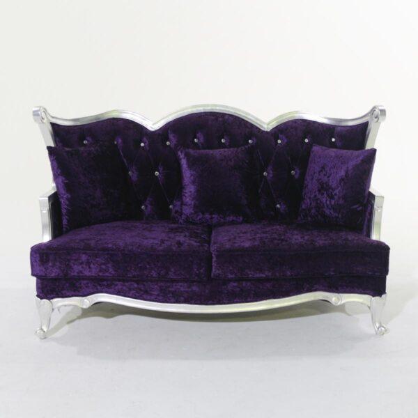 Three Seat Plush Purple Studded Velvet Couch