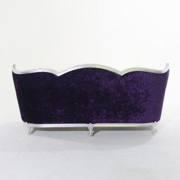 Four Seat Plush Purple Studded Velvet Couch